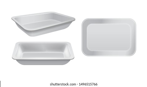 Empty styrofoam food storage. White food plastic tray, set of foam meal containers for your design