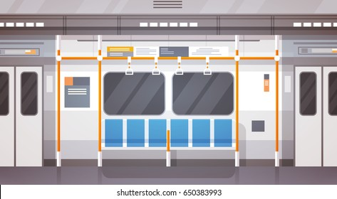 Empty Subway Car Interior Modern City Public Transport, Underground Tram Flat Vector Illustration
