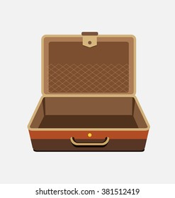 Empty suitcase for summer holiday - vector isolated illustration.