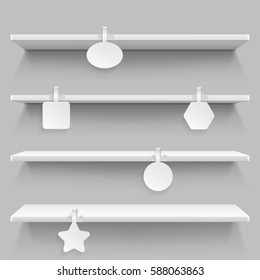 Empty supermarket retail shelves with advertising wobblers vector illustration