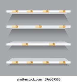Empty supermarket retail shelves with advertising price tags vector illustration