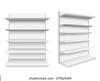 Empty supermarket shelf on white background.Vector illustration.