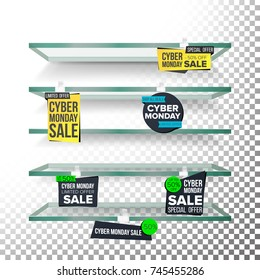 Empty Supermarket Shelves, Cyber Monday Sale Wobblers Vector. Price Tag Labels. November Big Sale Banner. Cyber Monday Selling Card. Discount Sticker. Sale Banners. Isolated Illustration