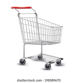 Empty supermarket shopping cart. Vector illustration