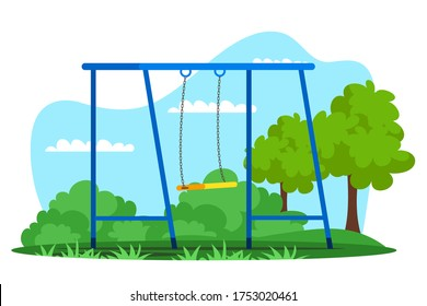 Empty swing on playground in natural green park. Place for entertainment and game. Active fun outdoor. Recreational area for children. Summertime leisure on fresh air. Vector garden decoration