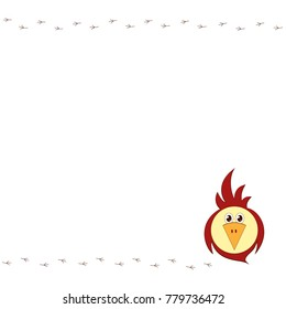 An empty template with a funny stylized bird and track tracks Decorative sparrow or parrot for postcards posters advertisements ads Element of design in the style of flat Drawing of animal Vector