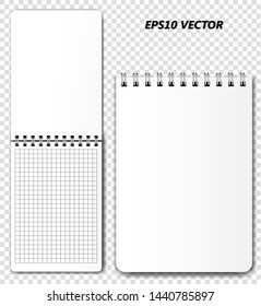 An empty template (mockup) for the design of a spiral notebook in an open and closed state  on a transparent background with realistic shadows. Vector illustration.