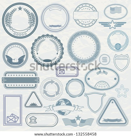 empty template rubber stamps customizable vector stock vector