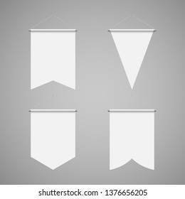 Empty Template of Vertical White Blank Pennant Set on Gray Background. Illustration of Sport Flags Symbol Mockup