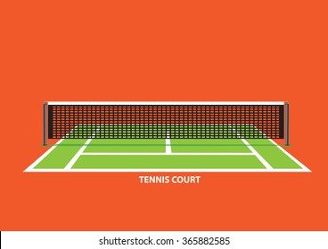 Empty tennis court with divider net in the middle, viewed from one end of court. Vector illustration isolated on vibrant orange background.