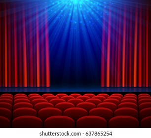 Empty theater stage with red opening curtain, spotlight and seats. Poster background for concert, party, theater or dance show. Vector illustration.