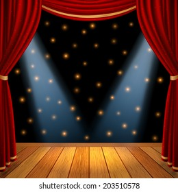 Empty theatrical scene stage with red curtains drapes  and brown wooden floor with dramatic spotlight in the center , stock vector graphic illustration