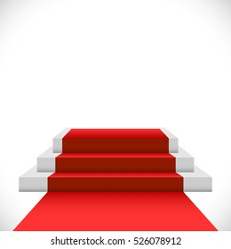 Empty three step podium with red carpet isolated on white background. Celebrity stage.