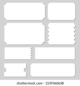 Empty ticket template vector design illustration isolated on grey background