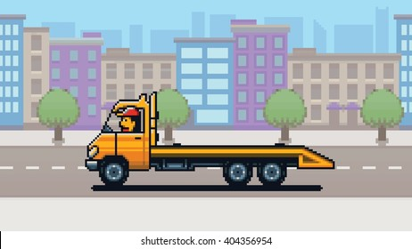 Empty Tow truck, city background pixel art game style layer vector illustration
