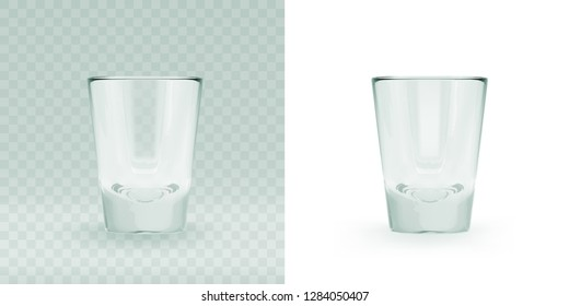 Empty transparent 3D rendered shooters glass for drinking alcohol shots at the bar. Realistic vector illustration of blank glassy shotglass stemware