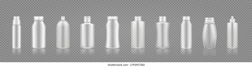 Empty transparent bottles mockup for shampoo, lotion, gel, cream. Blank plastic cosmetic package container. Beauty product template for branding or presentation. 3d realistic vector illustration