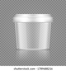 Empty transparent bucket with cap mockup for ice cream, yoghurt, mayonnaise, paint, or putty container. Plastic package design. Blank food or decor product template. 3d vector illustration