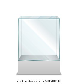 Empty transparent Glass Box on pedestal, Isolated on White Background, Vector