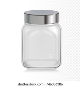 Empty transparent glass jar with metal cap . Vector illustration. Packaging for cereals