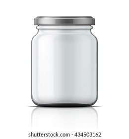 Empty transparent glass jar with screw cap. Vector illustration. Packaging collection.