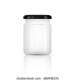 Empty transparent glass jar with screw cap. Round Shape Glass Canister isolated on white background. Vector illustration. Eps 10.