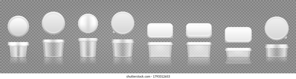 Empty transparent jar mockups with cap top view set for cheese, ice cream, butter, frozen yogurt. Plastic package design. Blank beauty or food product container template. 3d vector illustration
