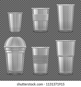 Empty transparent plastic disposable cups. Takeaway drink containers isolated vector set. Illustration of plastic container, disposable transparent for drink