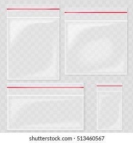 Empty Transparent Plastic Pocket Bags. Blank vacuum zipper bag. polythene container set on the transperant background