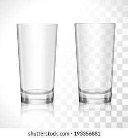 Empty transparent water drinking glasses isolated vector illustration