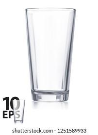 Empty transparent water glass. Realistic Vector 3d illustration