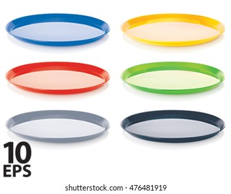 Empty tray set, isolated. 3D illustration