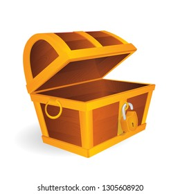 Empty treasure chest with open golden padlock.  Cartoon style opened wooden pirate chests with gold metal stripes. Treasure chest vector illustration.