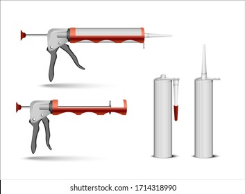 empty tube packaging for silicone or  sealant gel container with nozzle mock up set. Vector realistic illustration isolated on transparent background