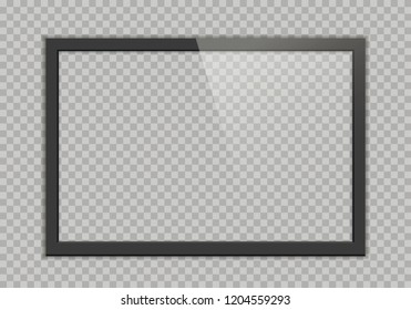 Empty TV black frame with reflection and transparency screen isolated on background. Lcd monitor screen  vector illustration. Lcd display screen, tv digital panel plasma