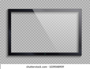 Empty tv frame with reflection and transparency screen isolated. Lcd monitor vector illustration. Lcd display screen, tv digital panel plasma