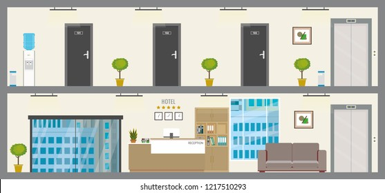 Empty Two floors of hotel or hostel,ground  floor with reception and first floor with doors in rooms,flat vector illustration