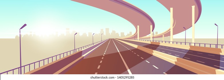 Empty two-lane speed highway, modern freeway with median barrier, overpass or bridge in above going to metropolis on horizon cartoon vector. City transport network infrastructure element illustration