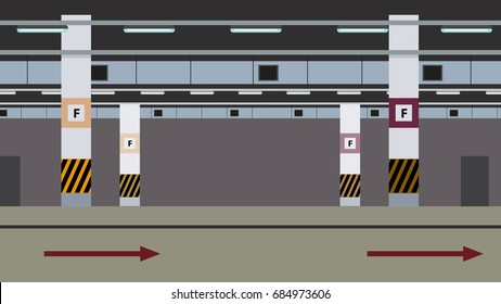 Empty Underground Parking Background. Vector flat design image.