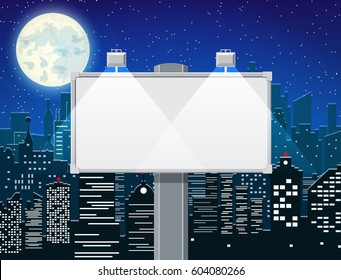 Empty urban big board or billboard with lamp. Blank mockup. Marketing and advertisement. Night cityscape background with buildings, sky, stars, moon. Vector illustration in flat style