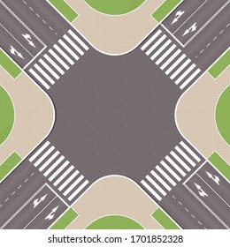 Empty urban crossroad with pedestrian paths. City intersection with pedestrian zebra lines. Top view of crossroads. Cityscape landscape from above. Vector Illustration