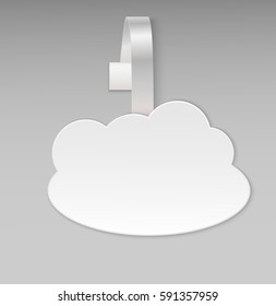 Empty vector blank shape white cloud paper plastic price wobbler front view. Advertising price stickers for hot offers on-line provider, computer service. Vector illustration. Big data cloud.
