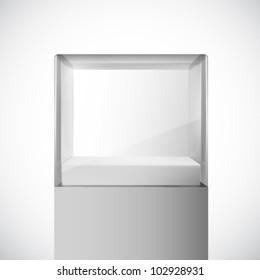 empty vector glass cube