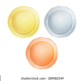 Empty vector glossy polished round discs of gold silver bronze that can be used as medals, coins, buttons or signs