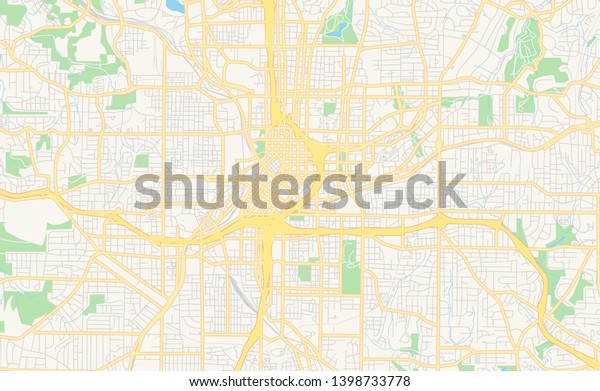 graphic regarding Printable Map of Georgia called Vacant Vector Map Atlanta Ga United states of america Inventory Vector (Royalty