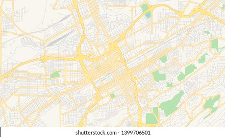 Empty vector map of Birmingham, Alabama, USA, printable road map created in classic web colors for infographic backgrounds.