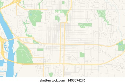 Empty vector map of Bismarck, North Dakota, USA, printable road map created in classic web colors for infographic backgrounds.