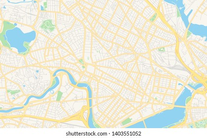 Empty vector map of Cambridge, Massachusetts, USA, printable road map created in classic web colors for infographic backgrounds.