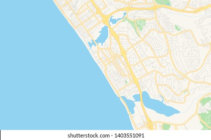 Empty vector map of Carlsbad, California, USA, printable road map created in classic web colors for infographic backgrounds.