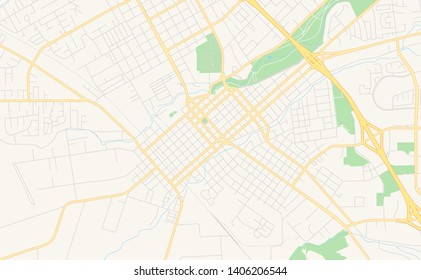 Empty vector map of Chico, California, USA, printable road map created in classic web colors for infographic backgrounds.